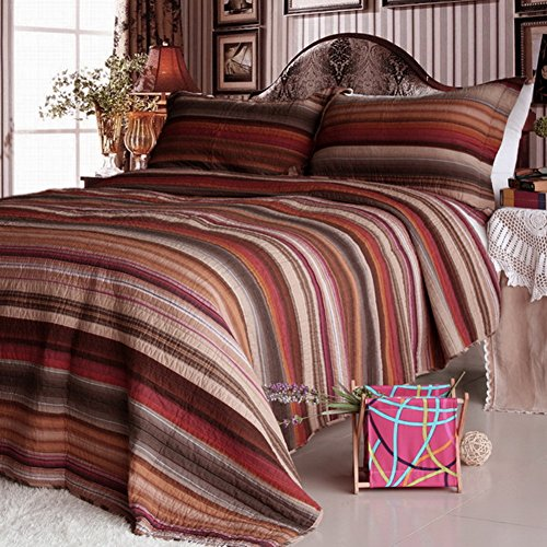 [Enthusiasm Desert-1] Cotton 3PC Vermicelli-Quilted Striped Printed Quilt Set (Full/Queen Size)