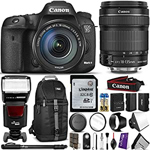 Canon EOS 7D Mark II Digital SLR Camera w/ EF-S 18-135MM f/3.5-5.6 IS STM Lens and Advanced Bundle - Includes: Sling Backpack, Monopod, LP-E6 Battery, Altura Photo AP-UNV1 Flash, UV Filter, EW-73B Hood, Softbox Diffuser, Remote Control, 32GB C10 SD Memory Card, Camera Cleaning Set