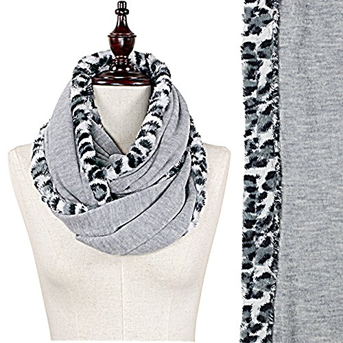 Animal Print Leopard Faux Fur Trim Light Knit Scarf