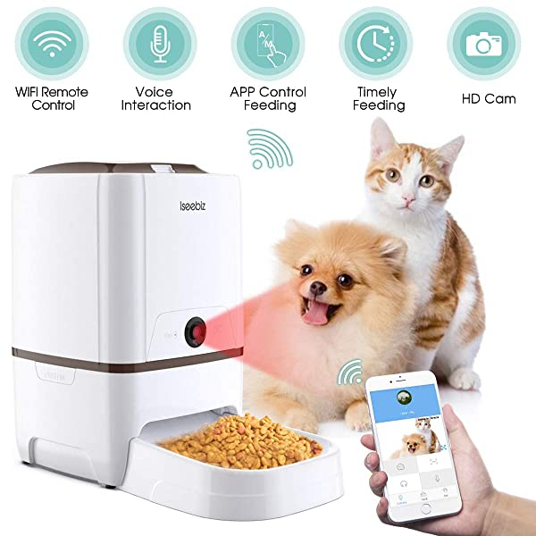 Iseebiz Automatic Pet Feeder, Cat Dog Smart Feeder, 6L App Control Food Dispenser with Camera, 2-Way Audio, Voice Remind, Video Record, 6 Meals a Day for Medium Large Cats Dogs, Compatible with Alexa