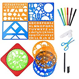Blulu Assorted Colors Drawing Stencils Kit Set with Stencils, Colored Pencils, Plastic Scissors and Glue Stick