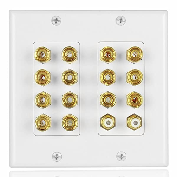 TNP Home Theater Speaker Wall Plate Outlet - 7.2 7.1 Surround Sound Audio Distribution Panel, Gold Plated Copper Banana Plug Binding Post Coupler, 2 RCA LFE Input Jack for Subwoofer (2-Gang) (Tamaño: 7.2 7.1 Surround)