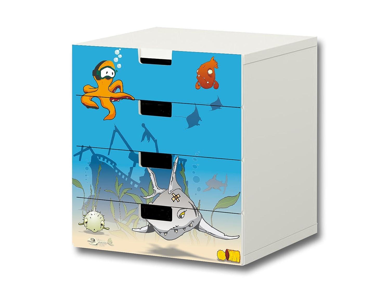 """""""Unterwasserwelt"""" Möbelsticker / Aufkleber – S4K06 – passend für die Kinderzimmer Kommode mit 4 Fächern / Schubladen STUVA von IKEA – Bestehend aus 4 passgenauen Möbelfolien (Möbel nicht inklusive) günstig"""