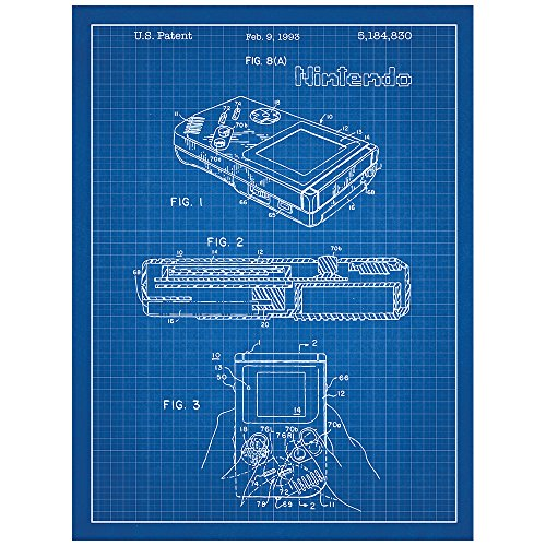 Nintendo Game Boy Design Patent Art Poster 18 x 24 inch Silk Screen Print - Blue