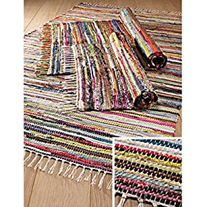 FAIR TRADE RAG RUG HAND LOOM INDIAN 100% RECYCLED COTTON MULTI COLOUR (180x270) from Namaste
