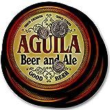 Aguila Beer & Ale - 4 pack Drink Coasters (Color: Black)