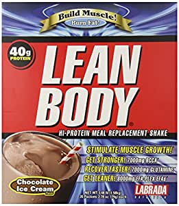 Labrada Nutrition Lean Body Hi-Protein Meal Replacement Shake, Chocolate Ice Cream, 20 - 2.78 oz Packets