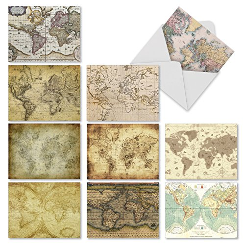 M3076 Map Quests: 10 Assorted Blank All-Occasion Note Cards Feature Antique Maps, w/White Envelopes. (Vintage Map Paper compare prices)