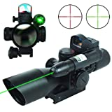 UUQ® 2.5-10x40 Clarity+ Combo Rifle Scope Dual Illuminated Mil-dot W/ Green Laser and Mini Reflex 3 MOA Red Dot Sight (Color: Green Laser)