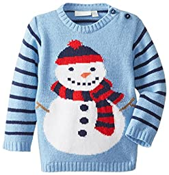 JoJo Maman Bebe Little Boys\' Snowman Sweater, Blue, 45