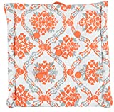 Damask Printed Floor Cushion by Elite Home, Set of 1 - Orange