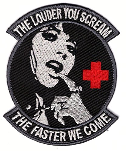 louder-you-scream-faster-we-come-black-medic-morale-velcro-patch-ecusson-brode-velcro-patch