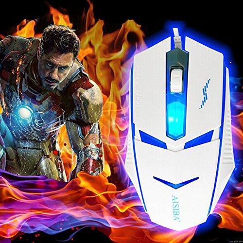 RedCrest (TM) 2015 promozione New Arrival 3200DPI LED Blu-ray, USB, regolabile Transformers-Mouse da gioco ottico cablato per PC Gamer