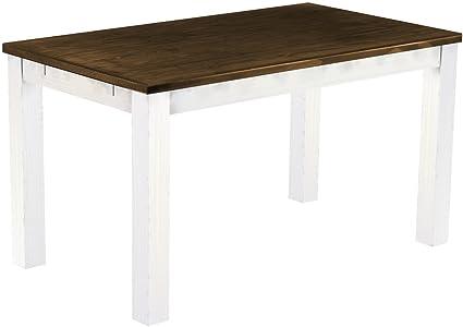 Brasil 'Rio' 140x 80cm, Antique Pine Wood Tone Oak Furniture Dining Table–White