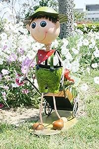 Wonderland Wondderland Garden Decor Boy Pushing Cart : Home Decor, Planter, Gift Item