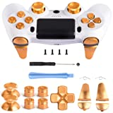 Z&Hveez Metal Buttons for PS4 Controller Gen 2, Metal Aluminum Bullet Buttons & L1 R1 L2 R2 Triggers & D-pad & Thumbsticks Replacement Kit for PS4 Slim/PS4 Pro DualShock 4 Controller (Metal Gold) (Color: Metal Gold)