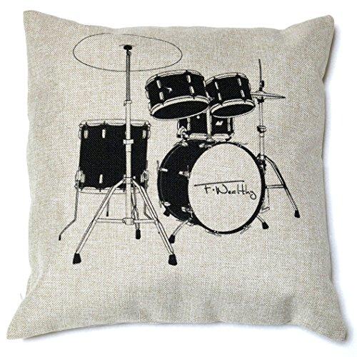 音楽 好き ならコレ 楽器 柄 クッション カバー 素敵な music インテリア (ドラム)