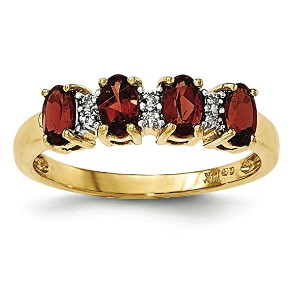14ct Yellow Gold Garnet and Diamond Ring