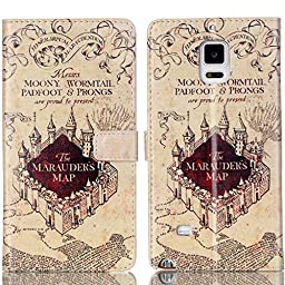 Galaxy S5 Case - Hogwarts Marauder\'s Map Pattern Slim Wallet Card Flip Stand PU Leather Pouch Case Cover For Samsung Galaxy S5 / Galaxy SV / Galaxy S V - Cool as Great Gift (Shipped from US, 3-7 days to delivery!)
