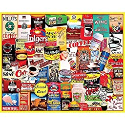 White Mountain Puzzles - Great Coffee Brands - 1,000 Piece Jigsaw Puzzle