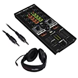 Reloop MIXTOUR Portable Cross-Platform DJ Controller with Stereo Mini Male Cable 3' and R100 Stereo Headphones