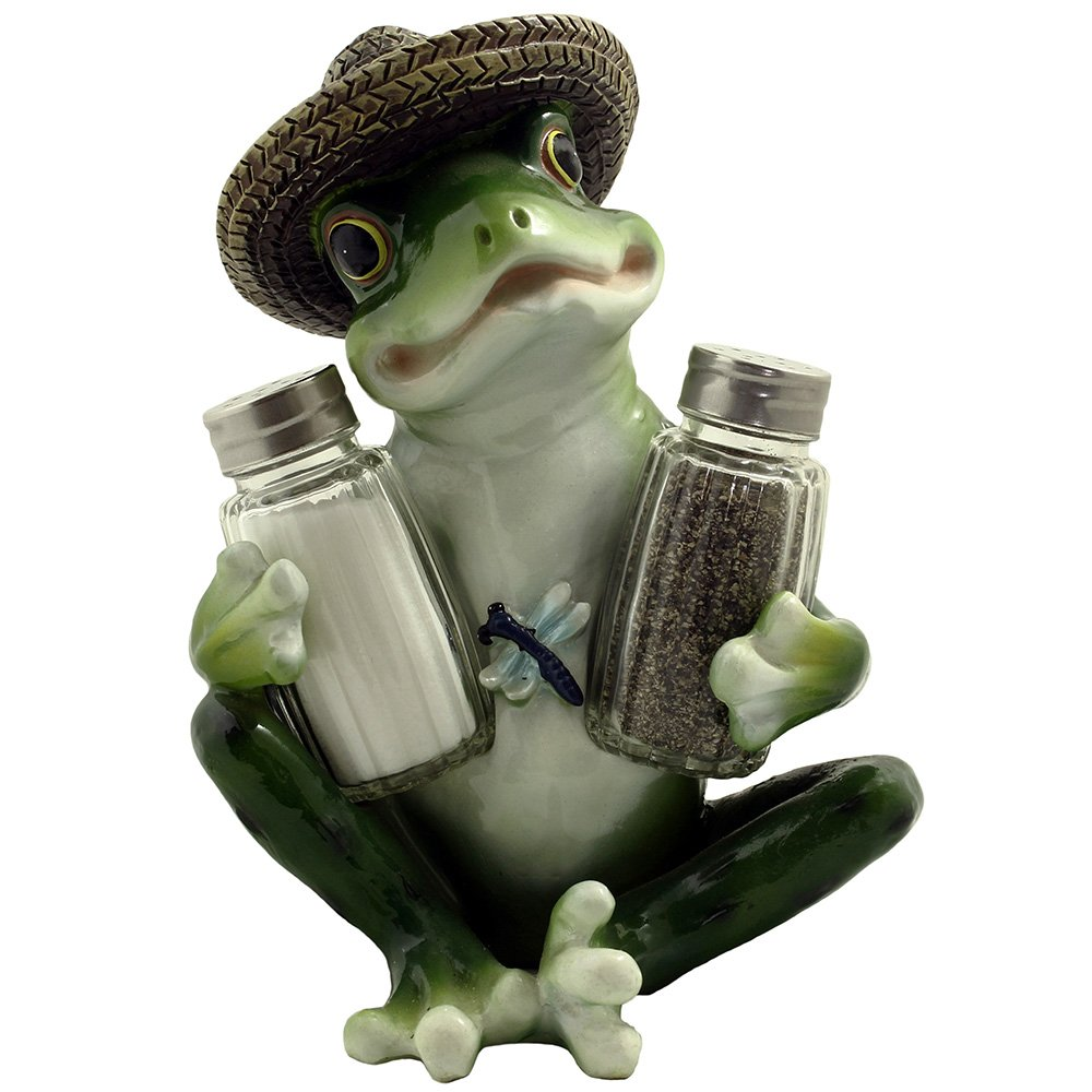 Decorative Country Frog U0026 Dragonfly Glass Salt And Pepper Shaker Set With  Display Stand Figurine Sculpture For Country Kitchen Table Decor Or  Whimsical ...
