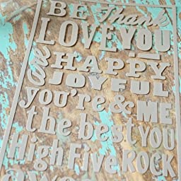 Hazel & Ruby Stencil Mask Peel Away Words Sheet, 12 by 8-Inch, Greetings