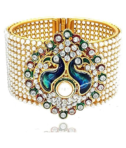 Jewels Galaxy Peacock Traditional Style Gold Plated Pearl Studded Kara Bangle for Women  available at amazon for Rs.244