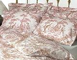 Toile de jouy pink oxford pillow case singular