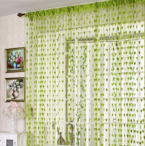 Green Curtains amazon green curtains : Buy RAMCHA GREEN HEART STRING CURTAIN (2.00) Online at Low Prices ...