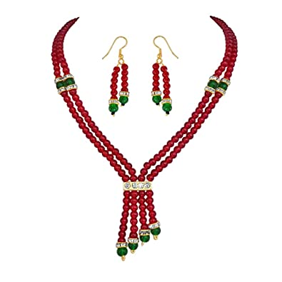Surat Diamonds Two Line Red & Green Beads Necklace & Earring Set for Women (PS87) at amazon