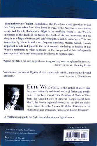 a personal review of the book night by elie wiesel Night, by elie wiesel, is a work of holocaust literature, with a decidedly autobiographical slant wiesel based the book—at least in part—on his own experiences.