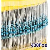 SODIAL(R) 600pcs 30 Kinds Value 1% 0.25W 1/4W Metal Film Resistor Mix Selection (1~1M ohm)