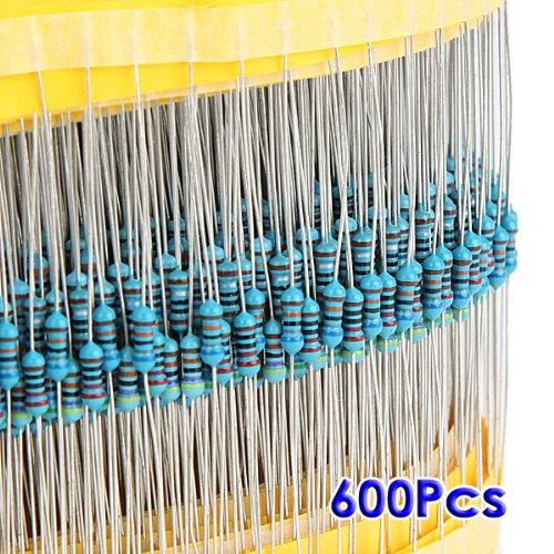 SODIAL (R) 600pz 30 tipi Valore 1% 0.25W 1 / 4W Selezione Mix resistore a film metallico (1 ~ 1M ohm)