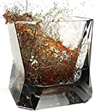 Whiskey Glasses Set of 2 in Gift Box- New Style of Old Fashioned Drink Glasses - Liquor or Bourbon Tumblers, 10.5 oz. (Dark Black, Glass)
