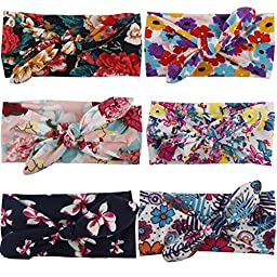 Jastore® Baby Girl Cute Turban Headband Head Wrap Knotted Hair Band (Style 22 (6 Pieces))