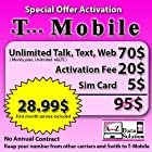 $70 T-Mobile Prepaid SIM Card Unlimited Talk