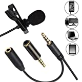 YUOCU Lavalier Lapel Microphone,Clip-on Omnidirectional Condenser Mic &Headphone jack 3.5mm Compatible for iPhone,Ipad,Android &Windows Smartphones,Yo