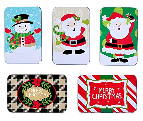 Assorted Christmas Holiday Gift Card Tin Holders Box Set (Set of 5) by Juvale