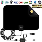 HD TV Antenna - Digital HDTV Antenna 50-80 Mile Range 4K HD VHF UHF Freeview Television Local Channels w/Detachable Signal Amplifier and 16.5ft Longer Coax Cable