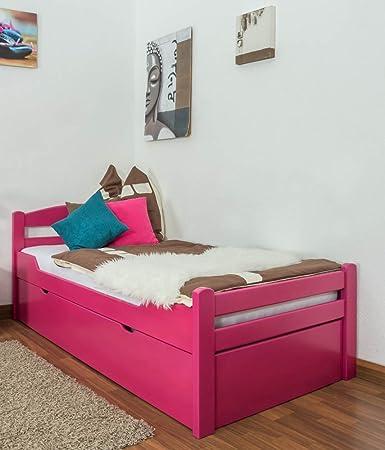 """Lit simple - d'ami """"Easy Sleep®"""" K1/2h incl. 2eme couchette et - panneaux de masquage, 90 - 200 cm hêtre rose massif"""