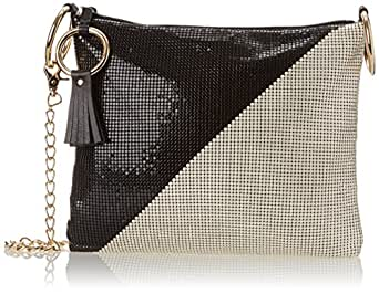 Whiting & Davis Metal Mesh Two Tone Shoulder Evening Bag, Black Pearl, One Size