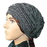 ニット帽,iLoveCos JP ボーダー柄 ニットキャップ ワッチキャップ 帽子 大きいサイズ (ブラック)