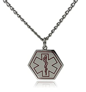 Max Petals - Type 1 Diabetes Medical Alert ID Stainless Steel Pendant Necklace with 26