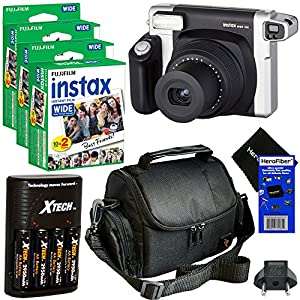 Fujifilm INSTAX 300 Wide-Format Instant Photo Film Camera (Black/Silver) + Fujifilm instax Wide Instant Film, Twin Pack (60 sheets) + 4 AA High Capacity Rechargeable Batteries with Battery Charger + Camera Case + HeroFiber® Ultra Gentle Cleaning Cloth