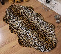 Jaguar animal print faux fur sheepskin double rug 70 x 140 cm by Rugs Supermarket