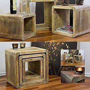 Design Beistelltisch Tisch Teetisch - Set 3-teilig, Echtholz Paulownie, naturbraun (44/36/28x35cm)