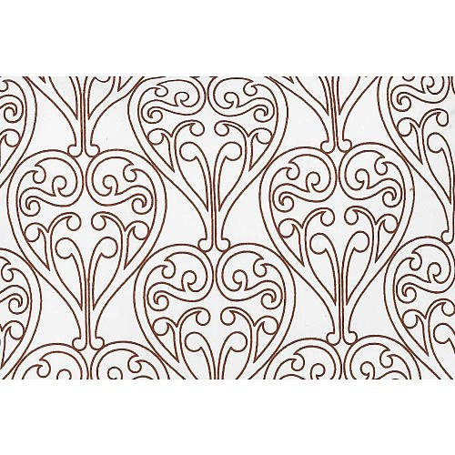 Bacati Damask White Chocolate Crib Fitted Sheet front-657266