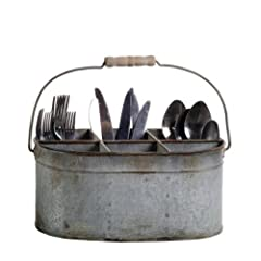 Creative Co-op Shabby Cottage Chic Tin Utensil Silverware Caddy