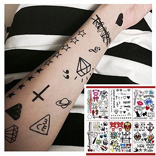 GIFT!!Tastto 6 Sheets Bright Colorful Hand Drawn Body Paints Temporary Tattoos Remix Stickers Set for all Ages with GIFT (One Direction 3d Book compare prices)